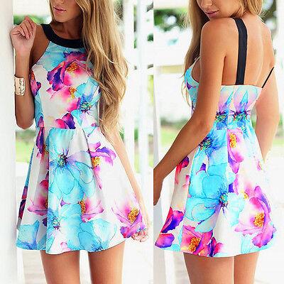 Women Summer Sleeveless Casual Dress Party Evening Mini Dress Floral Beach dress