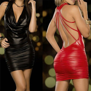 Women-Sexy-Black-And-Red-Wet-Look-Backless-Bandage-Faux-Leather-Bodycon-Dress-FH