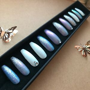 Hand-Painted-False-Nails-XL-COFFIN-or-ANY-Glitter-Blue-amp-White-Winter-Pretty
