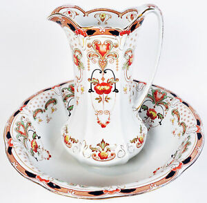 F-amp-Sons-Art-Nouveau-Princess-Burslem-Transferware-Pitcher-Bowl-Set-Large-RARE