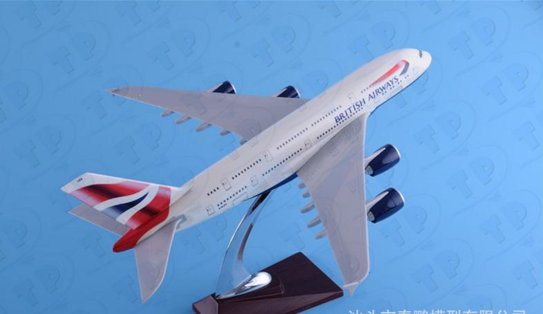 1/200 36 cm British Airways Airbus A380 pasajero avión avioneta Modelo De Resina