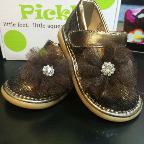 Pickle Shoes Squeaky Toddler Girls Shoes Brown Sparkle
