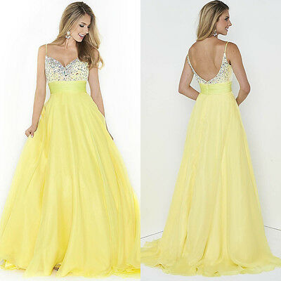 Beaded Chiffon Long Wedding Party Gown Bridesmaid Evening Prom Pageant Dresses