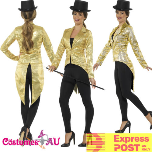 Ladies Gold Tailcoat Sequin Costume Cabaret 20s Jazz Gatsby Magician Top Jacket