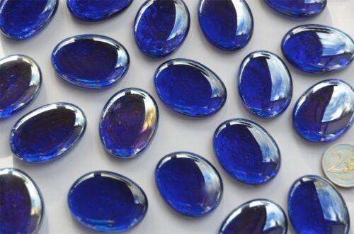 70g 4 Stück Deko Glassteine Glas-Pebbles 4-5 cm dunkelblau Glasnuggets ca