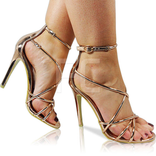 NEW WOMENS LADIES HIGH HEEL STILETTO STRAPPY BUCKLE PEEP TOE SANDALS SHOES SIZE