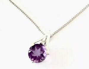 9ct-White-Gold-Amethyst-Diamond-Pendant-16-Chain-Necklace-GIFT-BOXED