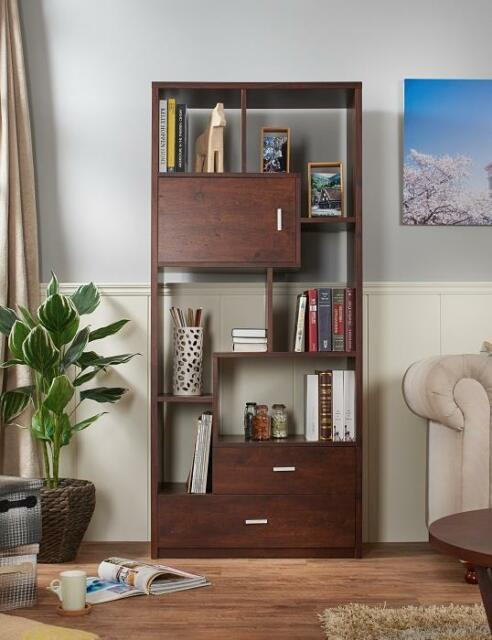 Tall Classic Modern Bookcase Mid Century Walnut Brown Finish Book Shelf Display For Sale Online