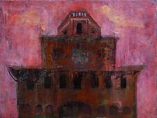 Italian Cityscape, Contemporary Modern Original Oil Painting, Pojani, Ipalbus