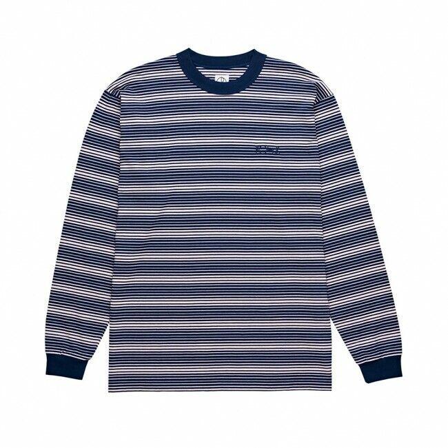 Genuine Polare Skate Co. verde Manica Lunga T-Shirt-Blu Marino rosa Pallido (MEDIO)