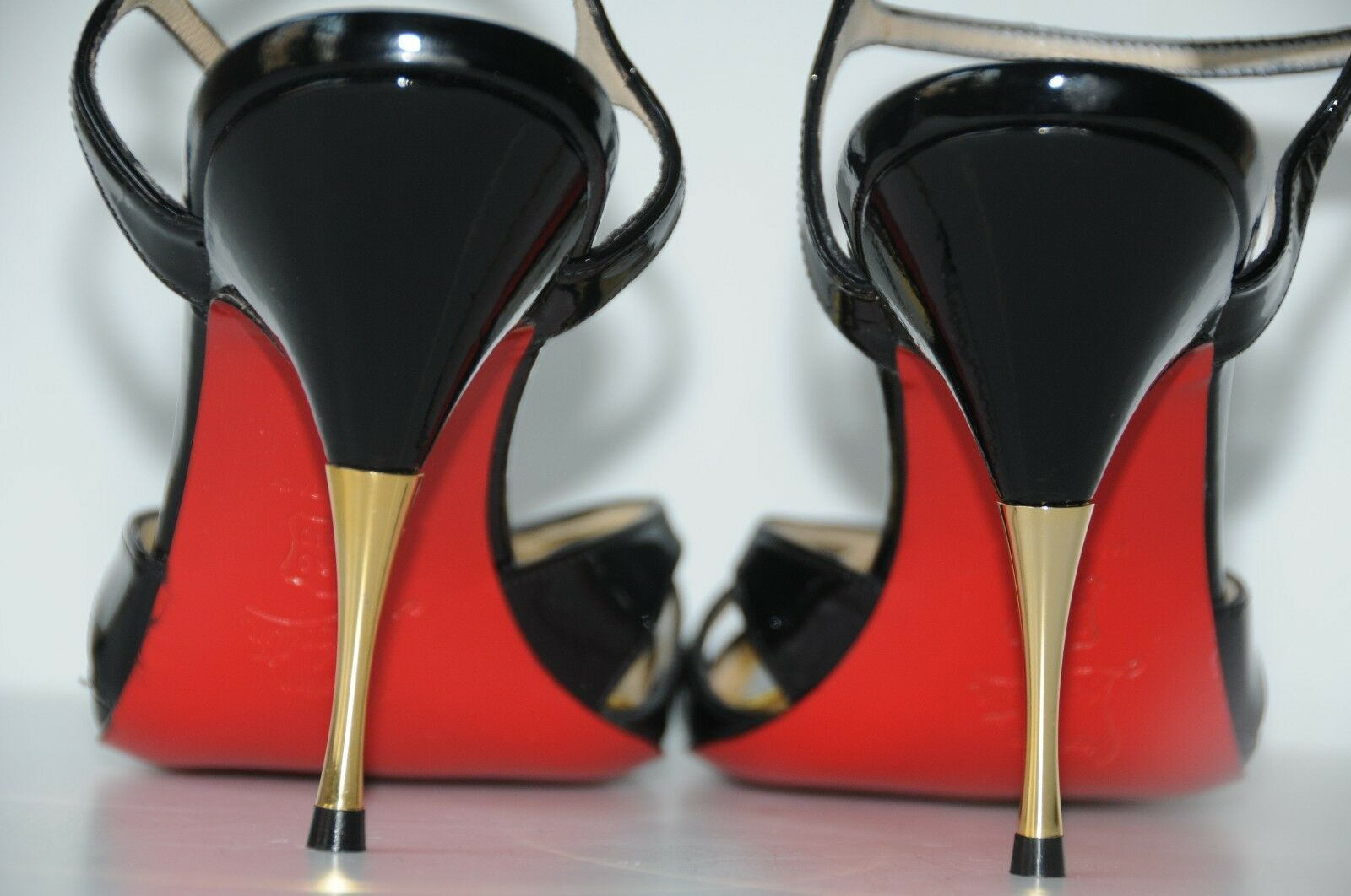 New CHRISTIAN CHRISTIAN CHRISTIAN LOUBOUTIN NOEUDETTE Black Patent gold Sandals Peep Toe SHOES 38 39 6edb41