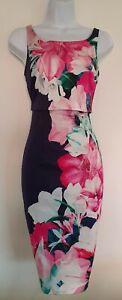 Para-mujer-Coast-Azul-Rosa-Floral-Scoop-vuelta-Con-Tiras-Estirar-Meneo-bodycon-vestido-6