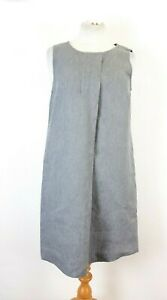 The-White-Company-Grey-Pure-Linen-Smock-Dress-UK-10-Holiday-Cruise-Casual