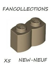 Lego-x-5-Dark-Tan-Brick-Modified-1x2-Log-30136-NEUF
