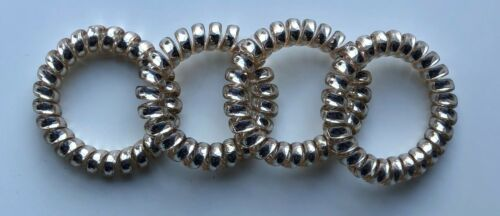 Spiral Coil Wire Hair Bands//Bobbles-Mixed 4 Pack 5cm Metallic Metal Colours