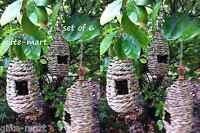 6 Lot Natural Grass Woven Wicker Hanging Bird Nest House Nesting Hut Basket Box