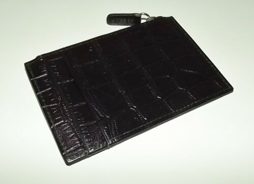 NEW ITALIA LEATHER CROC EMBOSSED SLIM CARD CASE ID WALLET WITH ZIP POCKET BLACK