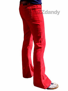 FLARES Red mens bell bottoms Cords jeans hippy vtg indie trousers ...