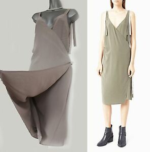 310835088a4 All Saints Stone VEA Silk Wrap Around West Ties V Neck Casual Dress ...