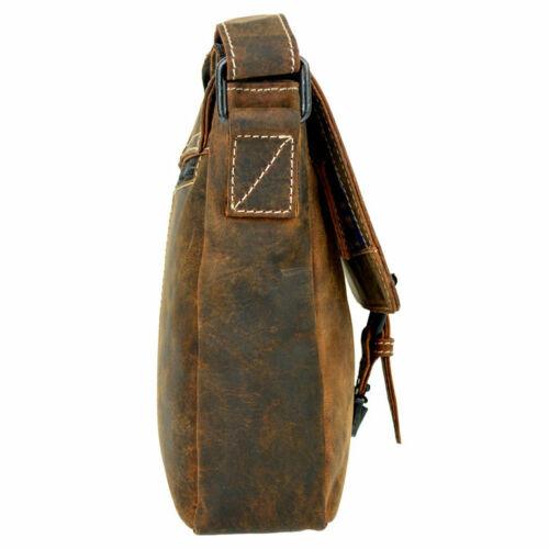 Umhängetasche Messenger Bag Pull-Up Hunterleder Echtleder Braun Leder VEN TOMY