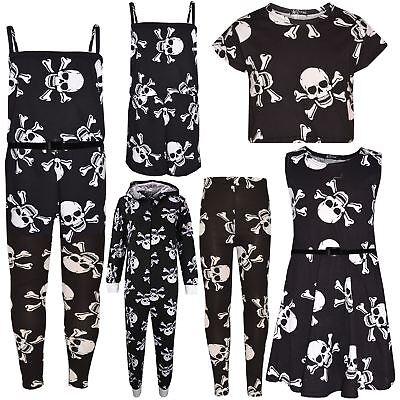 Kids Girls Skull Print Crop Top Legging Skater Dress Halloween Costume 7-13 Year