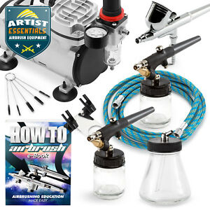 Airbrush-Kit-Gravity-Siphon-Feed-Air-Compressor-Crafts-Hobby-Art