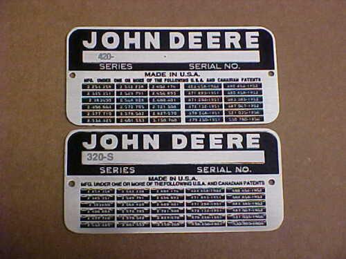 Vintage John Deere 320-S ou 420 Données Plaque Acide Gravé Aluminium Choix