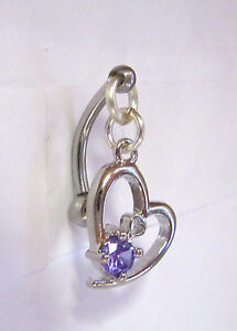 Image Is Loading Surgical Steel Purple Heart Dangle Barbell Vch Clit
