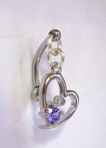 Surgical Steel Purple Heart Dangle Barbell VCH Clit Clitoral Hood Ring 14 gauge