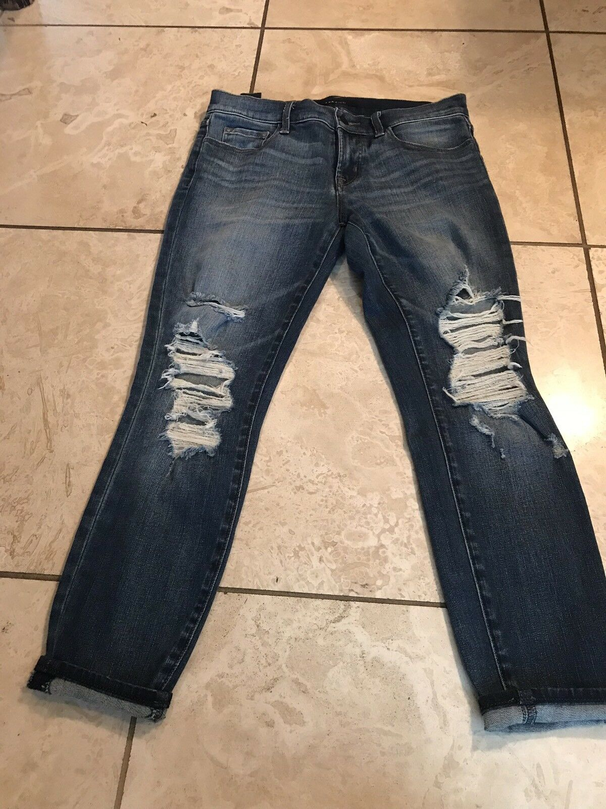 Current Elliott Skinny Distressed With Zippers  Jeans SZ 28