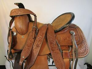USED-15-16-TOOLED-LEATHER-TRAIL-PLEASURE-HORSE-WESTERN-RANCH-ROPING-SADDLE-TACK