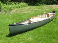 """Old Town Discovery 158 Canoe with Oars, 15' 8"""" Long, Green, Used, Very Good Cond"""