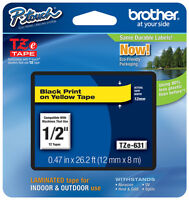 Brother 1/2 (12mm) Black On Yellow P-touch Tape For Pt3600, Pt-3600 Label Maker