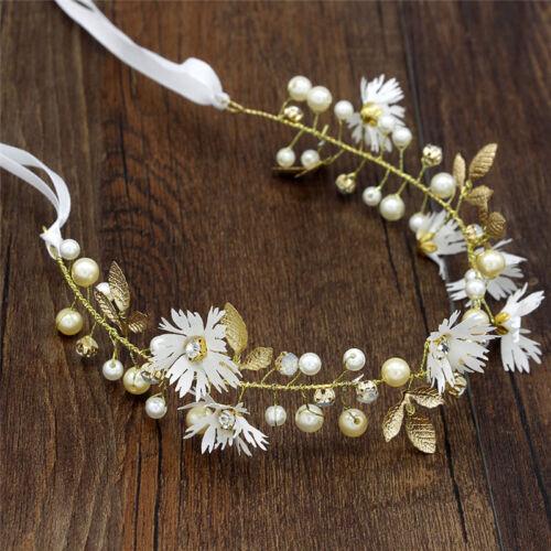 Blumen Blume Stirnband mit Band Kranz Hochzeit Brautjungfer Haarband ~ GirlTPI