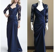 Tadashi Shoji Lace Taffeta Ruche Gown Midnight Blue Size 6 Prom Party Dress
