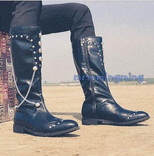 Rivetto Combattimento Gothic Uomo ginocchio militare Catena al Stivali Decor Moda Punk Knigth fYAanw5Yq