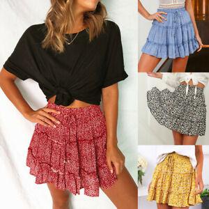 Women-Summer-Casual-Bohe-High-Waist-Ruffled-Floral-Print-Beach-Short-Skirt