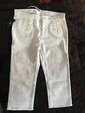 "Ladies Ralph Lauren Polo Swan Skinny Capri Stretch White Jeans 31"" UK12 BNWT"