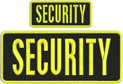 Security Armed Guard embroidery patch 4X10 and 2x5 hook yellow