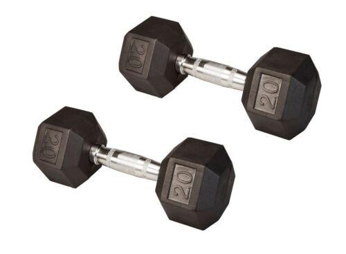 20 Lb (PAIR) Rubber Coated Hex Dumbbells Lifetime Warranty Dumb Bells