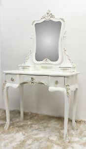 Pettiniera toeletta consolle con specchio bianca in legno decapato ...