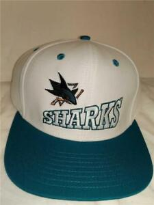 New-San-Jose-Sharks-Mens-Size-OSFA-White-Flatbrim-Snapback-Vintage-Reebok-Hat