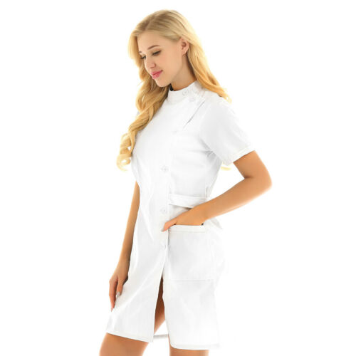 Women Medical Hospital Uniform Nurse Doctor Work Clothes Scrubs Lab Coat Dress