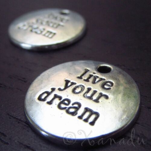 Wholesale Silver Plated Pendants C6915-5 Live Your Dream Charms 10 Or 20PCs