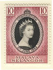 MALAYA SELANGOR 1953 CORONATION  MNH