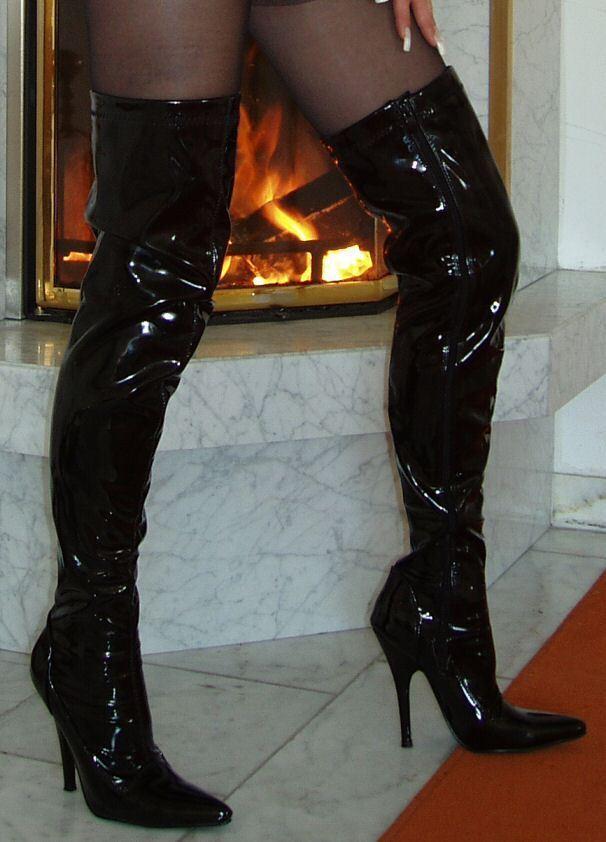 High Heels Overknee Stiefel Schwarz 38 Lack Stiletto Absatz Klassisch