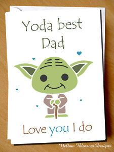 142daa6fb Funny Fathers Day Card Yoda Best Dad Love You I Do Star Wars ...