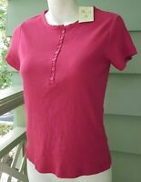 Bhs Pink Ribbed Fitted Turkish Cotton Shirt Sleeve Shirt Top Sz 10 With Tag