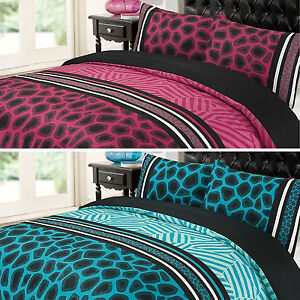Dreamscene Raffile Stripe Animal Print Pink Teal Black