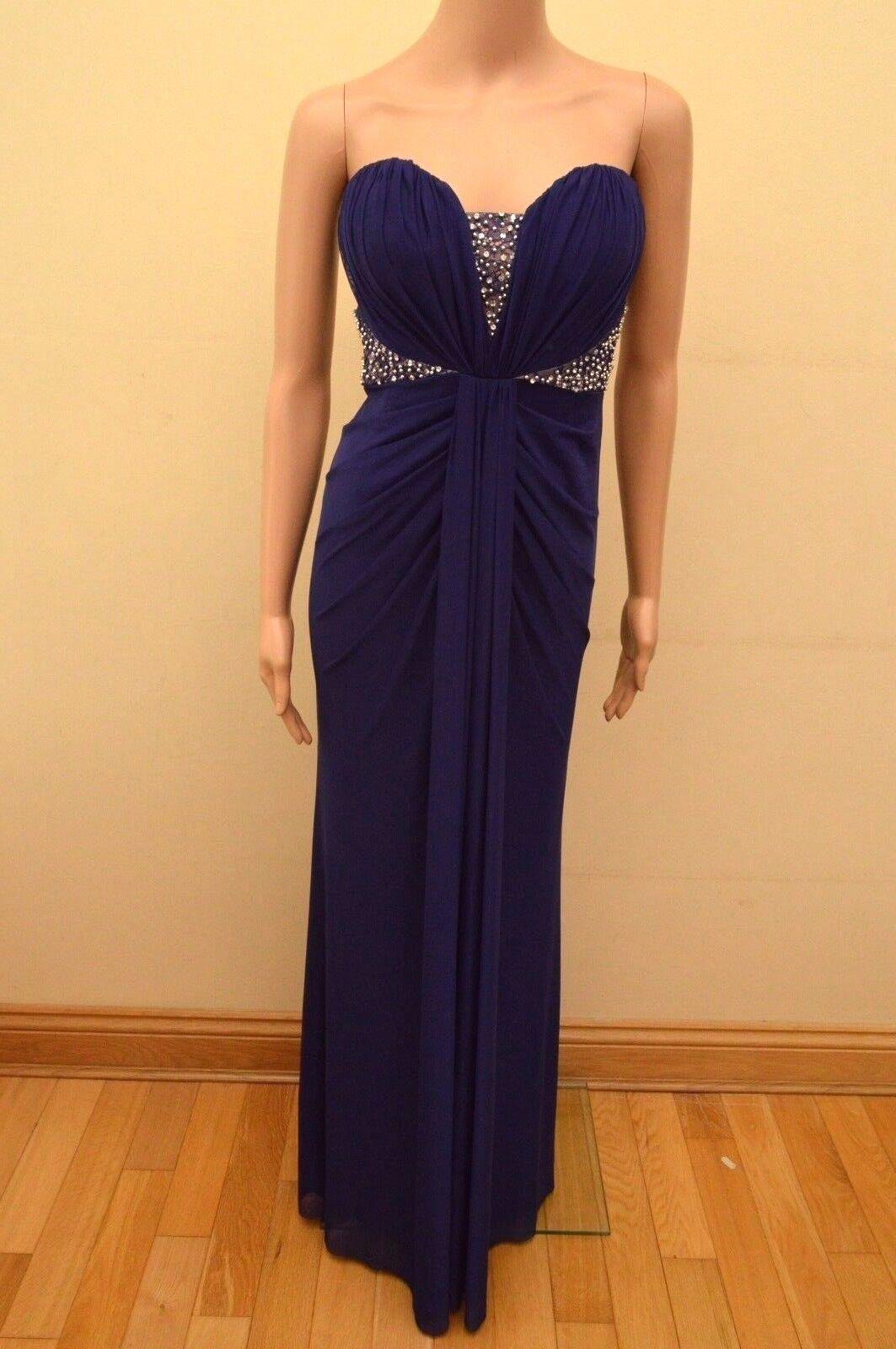 New Lipsy VIP Navy lila Diamante Sequin Bandeau Maxi Dress Sz
